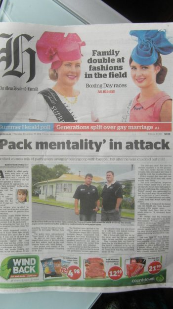 Front page New Zealand Herald 2012